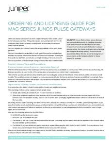 Ordering and Licensing Guide for MAG Series Junos Pulse Gateways