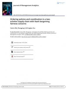 Ordering policies and coordination in a two ... - Semantic Scholar