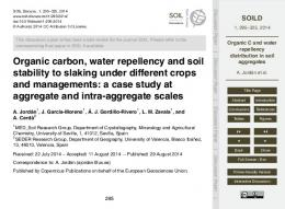 Organic C and water repellency distribution in soil aggregates