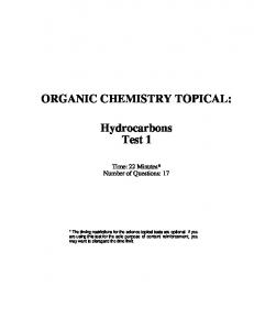 ORGANIC CHEMISTRY TOPICAL: Hydrocarbons Test 1