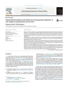 Organisational identity and alcohol use among young employees: A ...