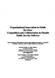 Organisational Innovation in Public Services: Competition and ...