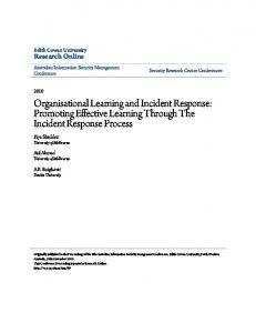 Organisational Learning and Incident Response - CiteSeerX