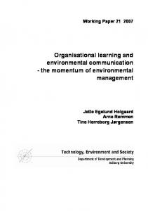 Organisational learning in environmental management