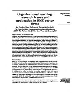 Organisational learning: research issues and ... - Semantic Scholar