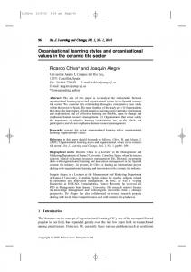 Organisational learning styles and organisational ...