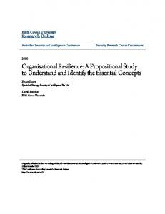 Organisational Resilience: A Propositional Study to ... - CiteSeerX