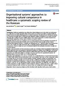 Organisational systems' approaches to improving cultural competence ...