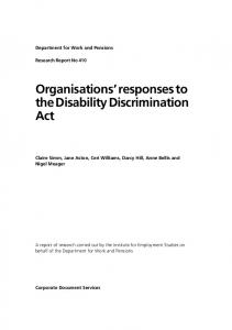Organisations' responses to the Disability Discrimination Act