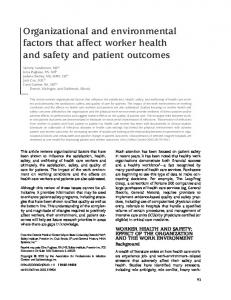 Organizational and environmental factors that affect worker health and ...