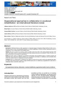 Organizational approaches to collaboration in vocational rehabilitation ...