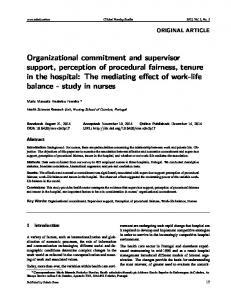 Organizational commitment and supervisor support ... - Sciedu Press