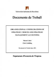 ORGANIZATIONAL CONFIGURATIONS OF ...