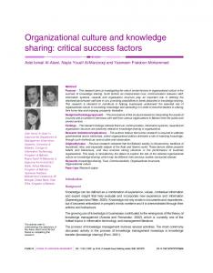 Organizational culture and knowledge sharing - Semantic Scholar
