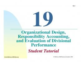 Organizational Design, Responsibility Accounting, and Evaluation of ...