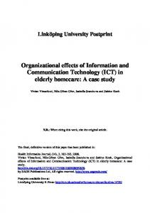 Organizational effects of Information and Communication Technology ...