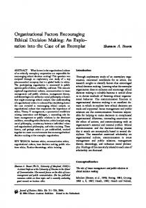 Organizational Factors Encouraging Ethical Decision Making: An ...