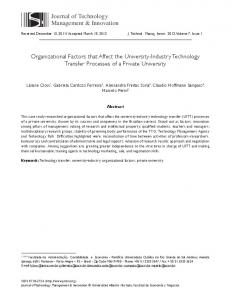 Organizational Factors that Affect the University-Industry Technology ...