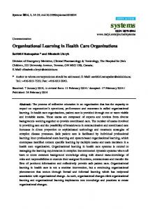 Organizational Learning in Health Care Organizations - MDPI
