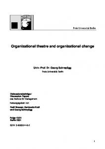 Organizational theatre and organizational change - 4managers