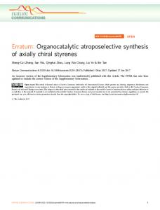 Organocatalytic atroposelective synthesis of axially chiral ... - Nature