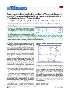 Organocatalytic Enantioselective Synthesis of ... - ACS Publications