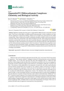 Organotin(IV) Dithiocarbamate Complexes: Chemistry and ... - MDPI
