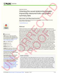Orienting the causal relationship between imprecisely ... - PLOS
