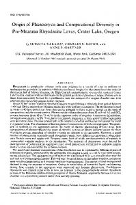 Origin of Phenocrysts and Compositional Diversity in ... - Oxford Journals
