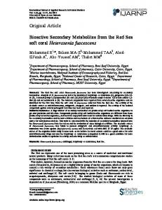 Original Article Bioactive Secondary Metabolites from the Red Sea soft ...