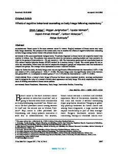 Original Article Effects of cognitive behavioral ...