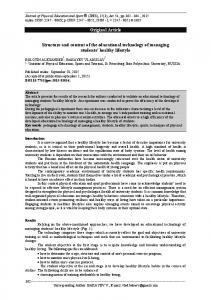 Original Article Structure and content of the educational technology of ...