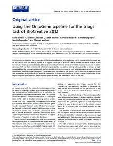 Original article Using the OntoGene pipeline for the ... - ScienceOpen