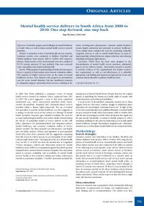 ORIGINAL ARTICLES Mental health service delivery in South Africa ...