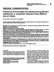 ORIGINAL COMMUNICATION Prevalence of overweight and obesity ...