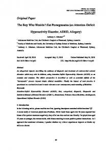 Original Paper The Boy Who Wouldn't Eat Pomegranates (an Attention ...