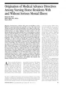 Origination of Medical Advance Directives ... - Psychiatric Services