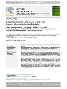 Orotracheal intubation and temporomandibular