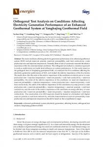 Orthogonal Test Analysis on Conditions Affecting ...