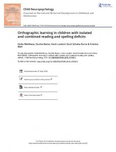 Orthographic learning in children with isolated and