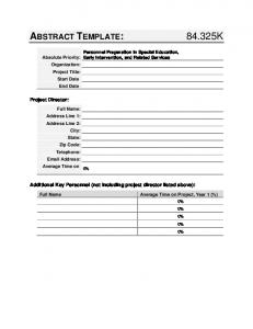 OSEP Abstract Template: 84.325K; Personnel Preparation in ...