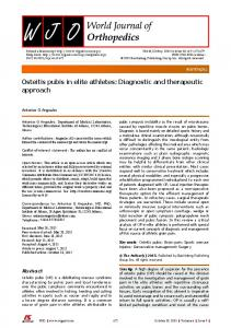 Osteitis pubis in elite athletes: Diagnostic and ... - F6Publishing