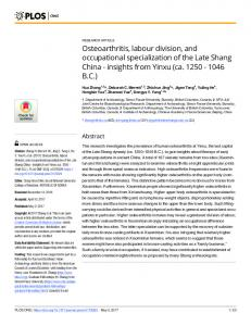 Osteoarthritis, labour division, and occupational specialization ... - Plos