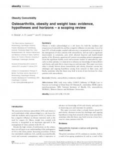 Osteoarthritis, obesity and weight loss - Wiley Online Library