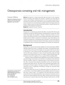 Osteoporosis screening and risk management - BioMedSearch