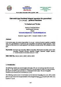 Ostrowski type fractional integral operators for ...