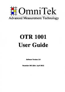 OTR 1001 User Guide (A4 Edition) - OmniTek