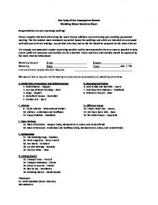 Our Lady of the Assumption Church Wedding Music Selection Sheet ...