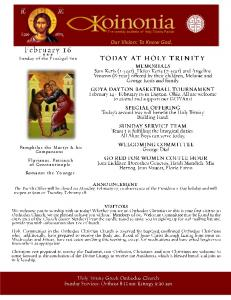 Our Vision: To Know God. - Holy Trinity Greek Orthodox Church