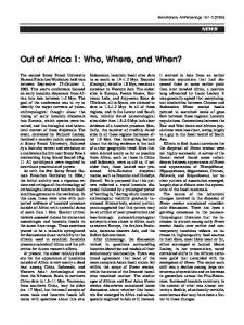 Out of Africa 1 - Wiley Online Library